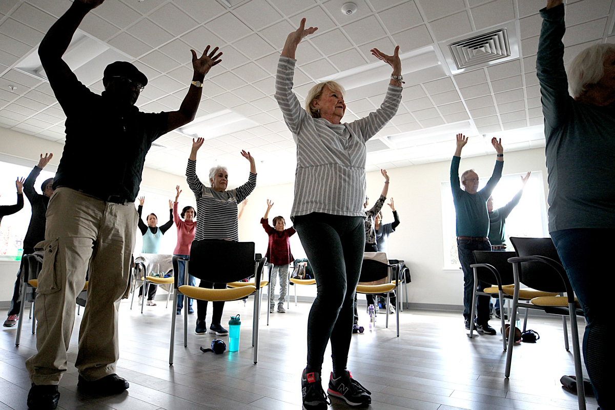 Salem residents exercise at the advanced fitness class at the Salem Community Life Center exercising energy boost over 50