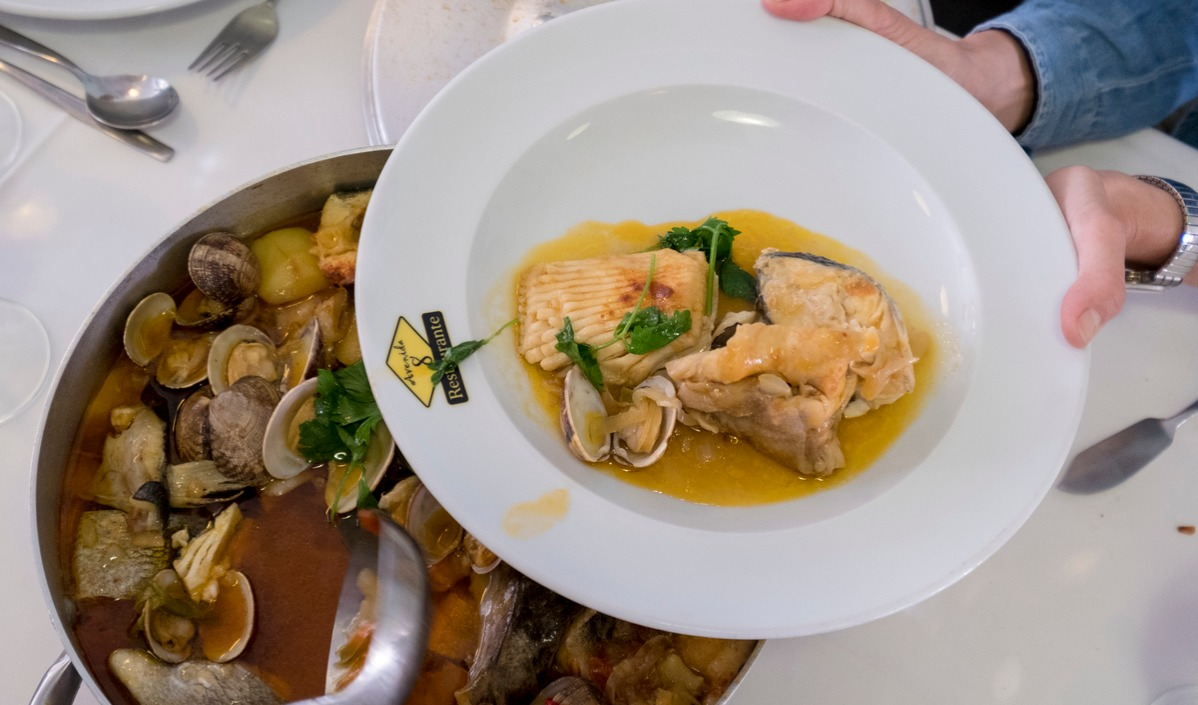 Gastronomy In Portugal includes the Caldeirada, a Portuguese and Galician fish stew consisting of a wide variety of fish and potatoes, along with other ingredients.