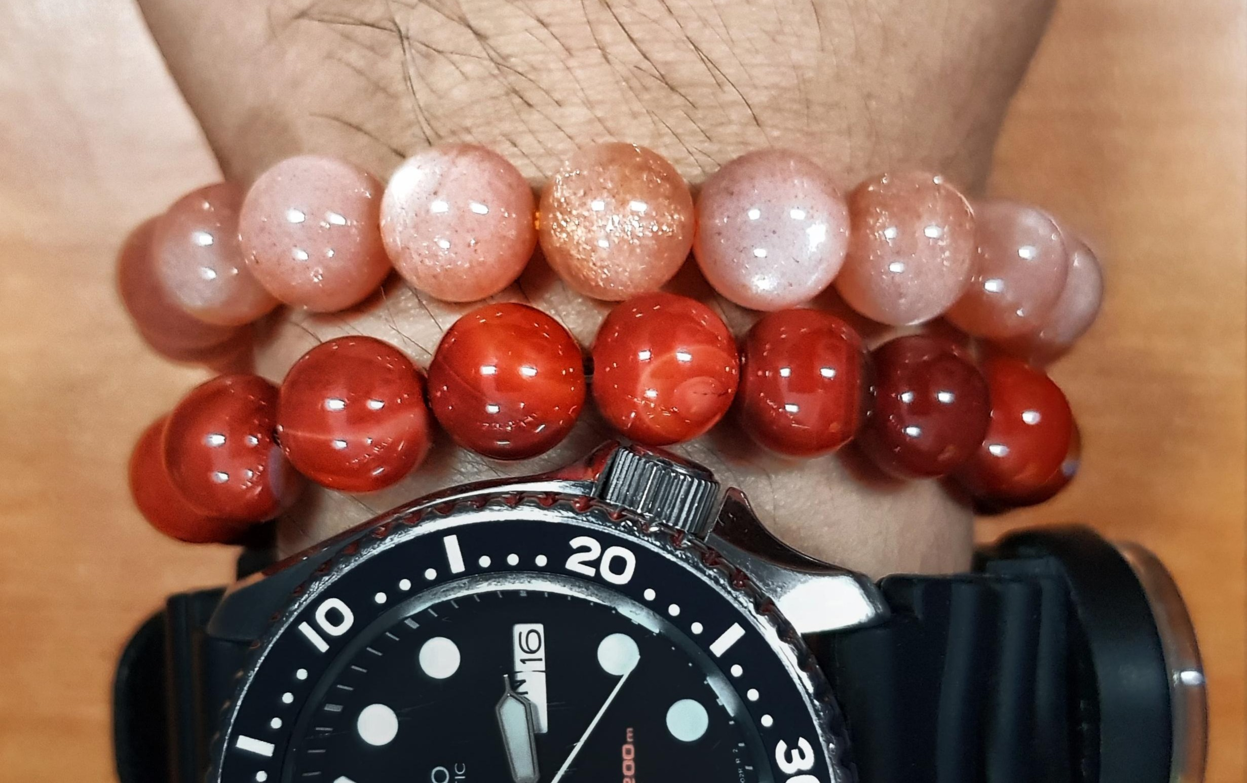 carnelian and sunstone bracelet amazonite labradorite courage crystals