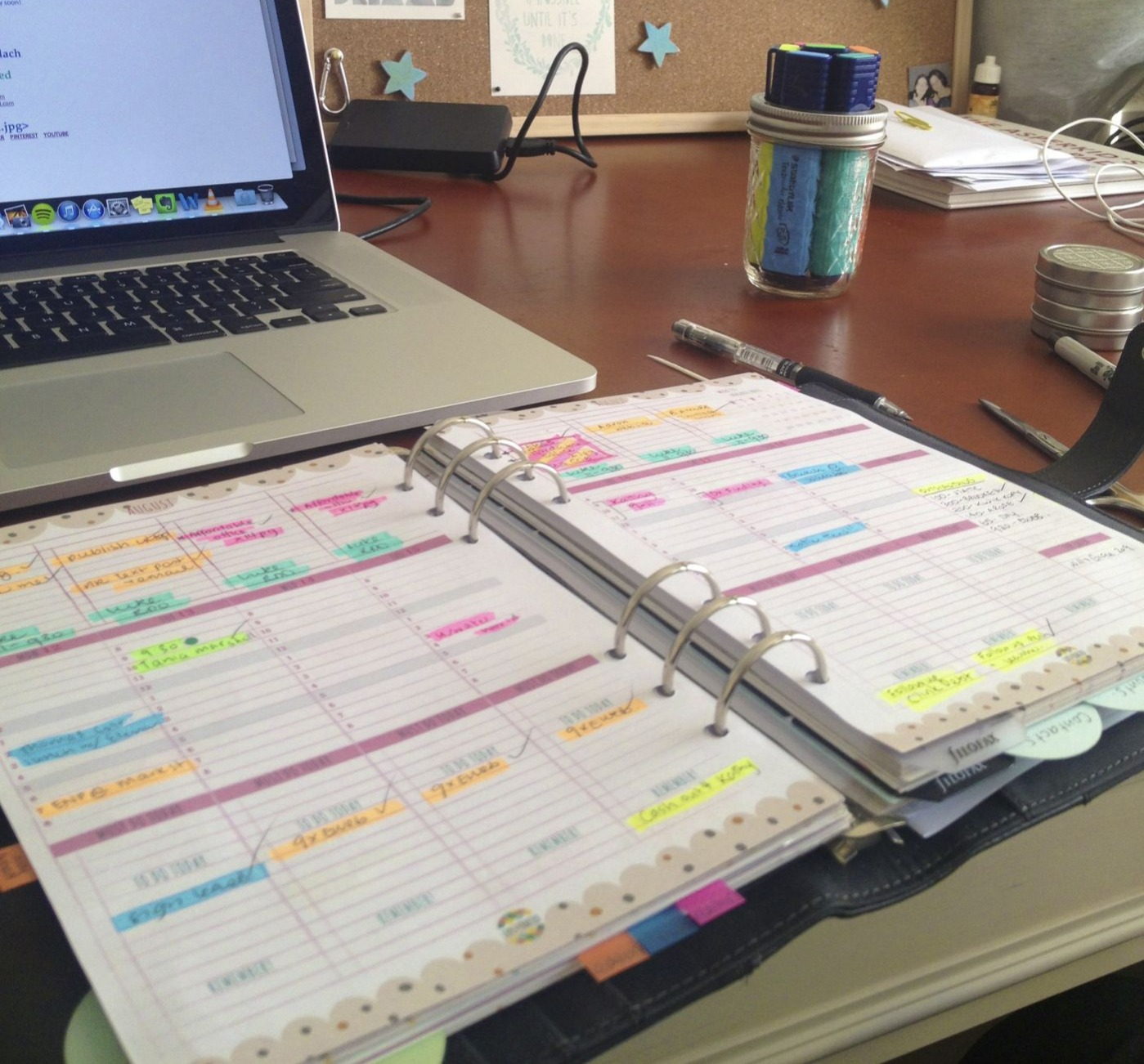organized desk space planner planning goal setting