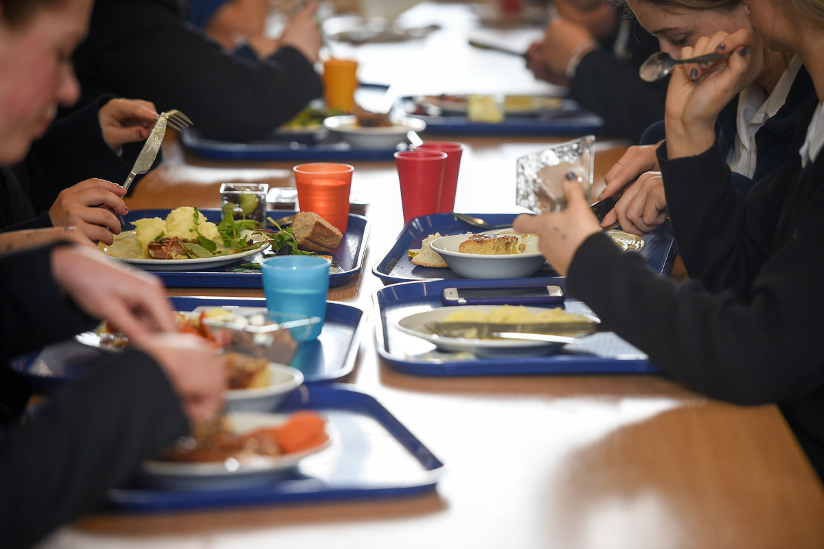 Students eat their school dinner from trays and plates during lunch in the canteen