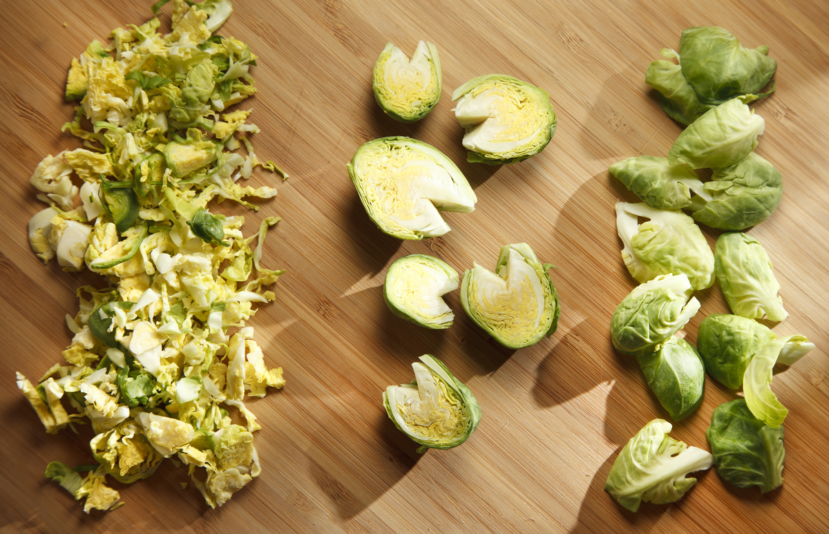Brussels sprouts in various stages of preparation protein health vitamin C study