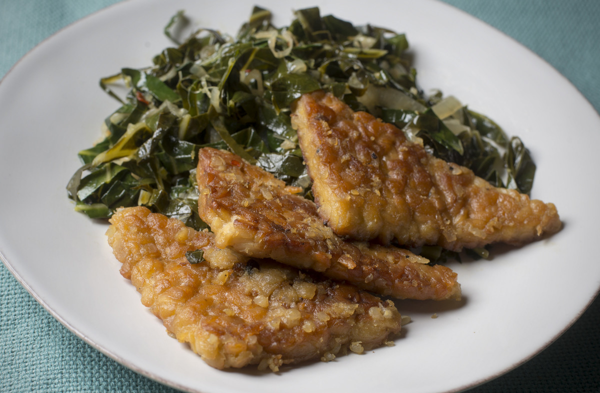 Miso-Mustard-Glazed Tempeh with Collard Greens high protein vegetarian vegan healthy