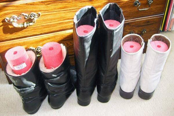keep boots upright with pool noodles