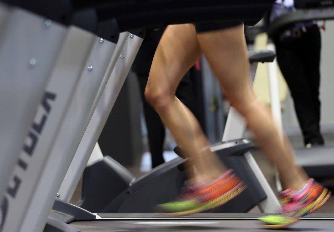 A woman runs on a treadmill in Cologne, Germany