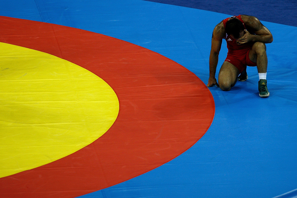 Davyd Bichinashvili of Germany reacts after he lost against Georgy Ketoev