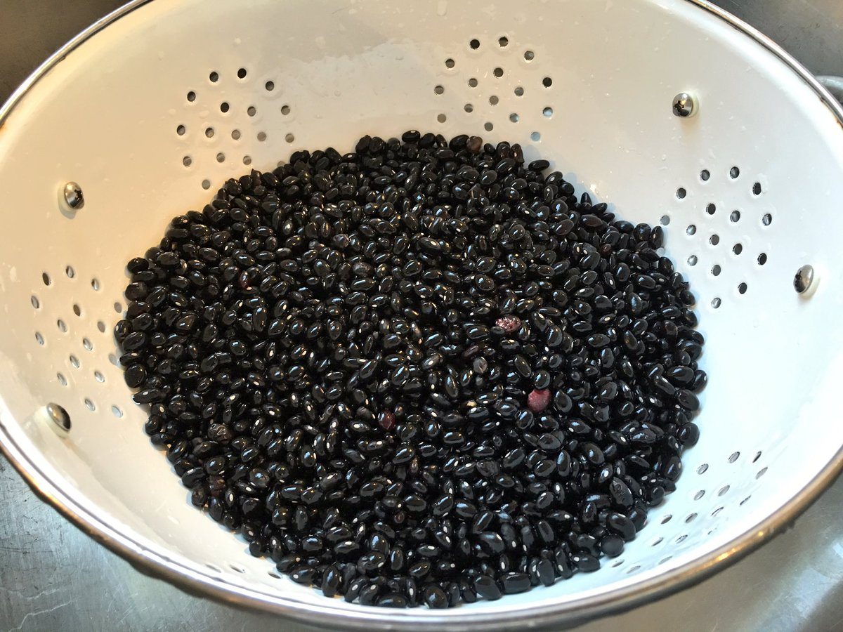black beans in strainer