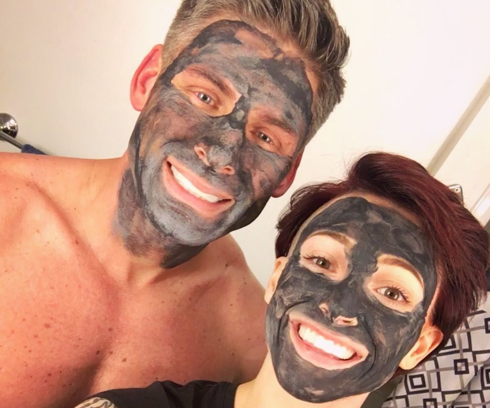 Couple wearing face masks
