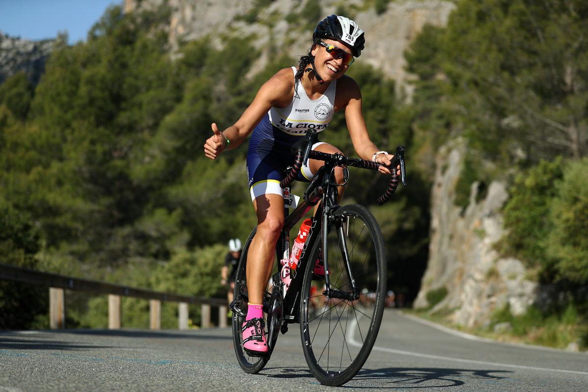 An athlete competes in the cycling leg of IRONMAN 70.3 Mallorca on May 11, 2019 in Mallorca, Spain.