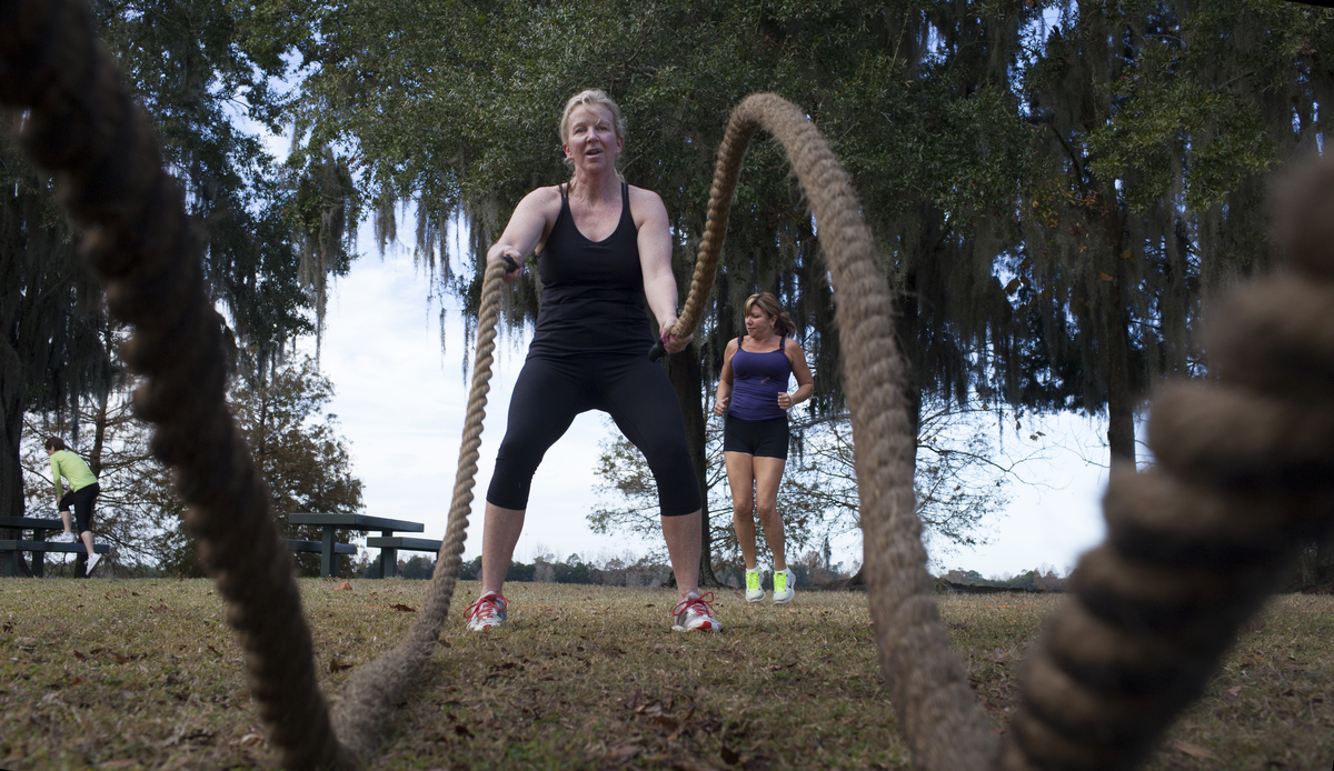 Mary Pat Guest, 50, works out with