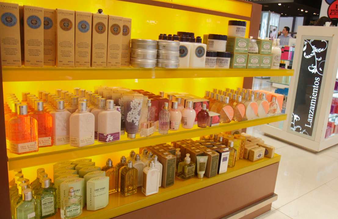 L'Occitane display of lotions in the duty-free store