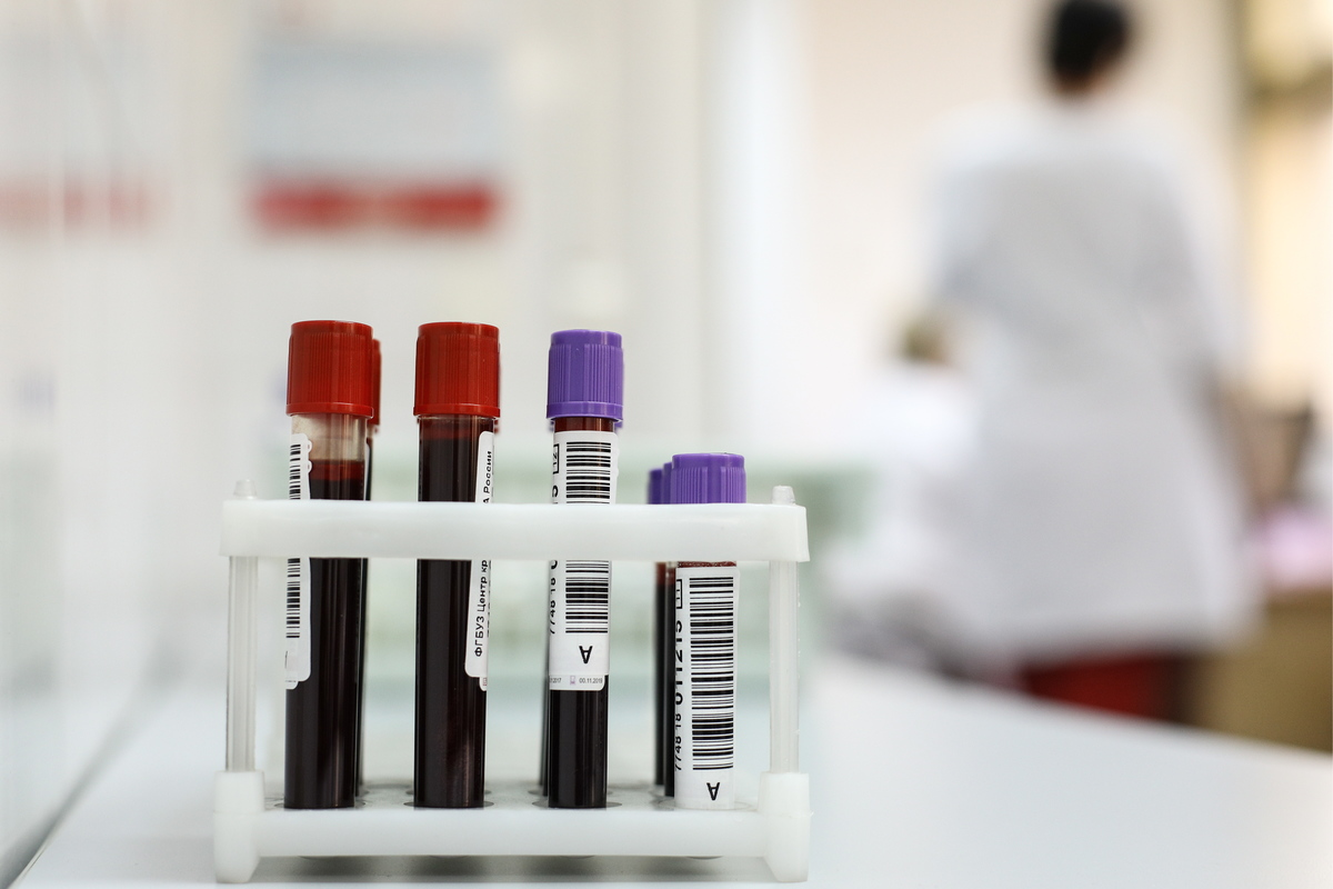 Blood samples seen at the Russian Federal Biomedical Agency's blood centre.