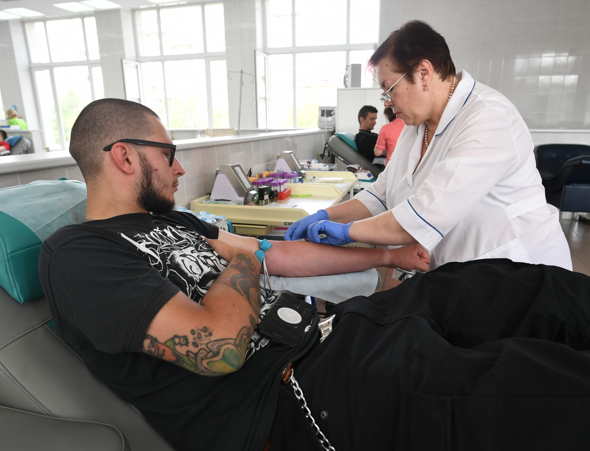 biker donates blood at Gavrilov Blood Centre