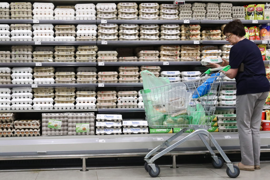 GettyImages-1152068360  A customer pushing a trolley by eggs