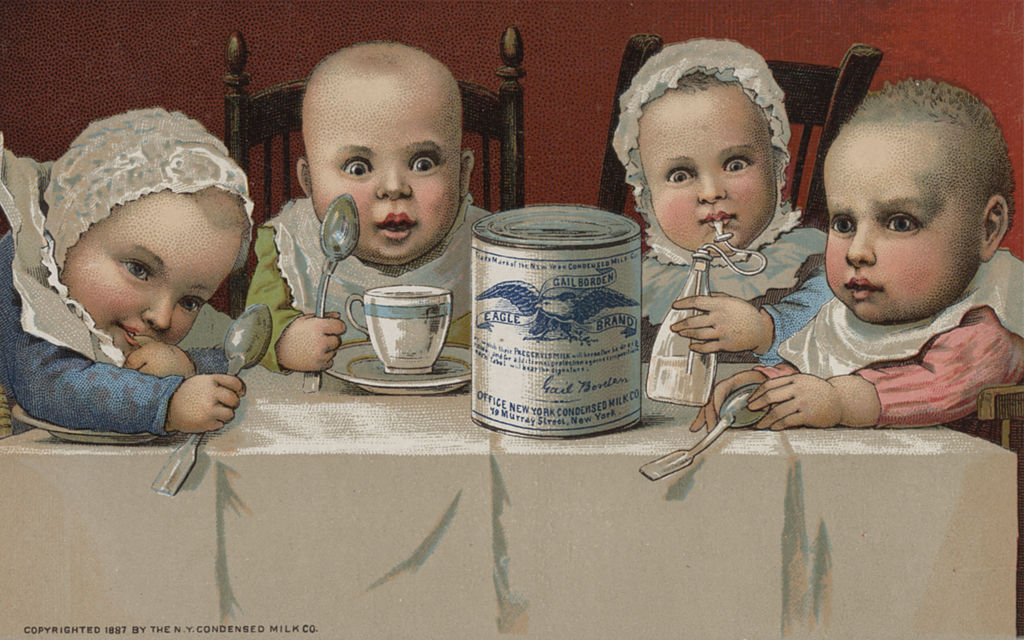 GettyImages-171690122 The New York Condensed Milk Company produced this ad card circa 1880 in New York City.