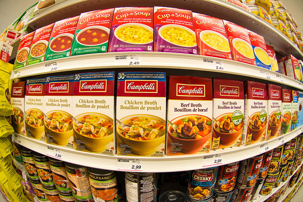 GettyImages-471729612 Campbells soup in store shelf.