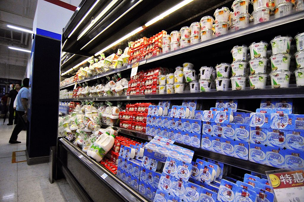 GettyImages-491220537 Dairy products for sale in a Beijing supermarket