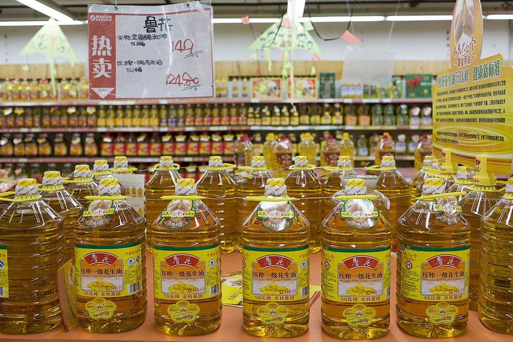 GettyImages-81746940 Peanut cooking oil in supermarket, Chongqing, China,
