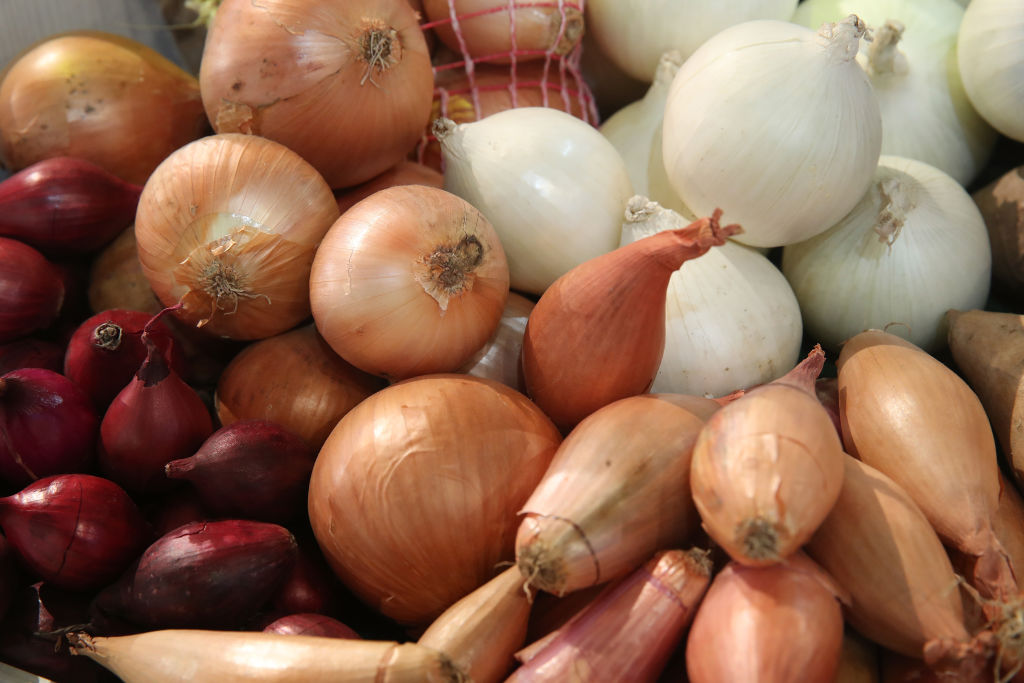 GettyImages-907143050 Onions and shallots lie on display at the 2018 International Green Week