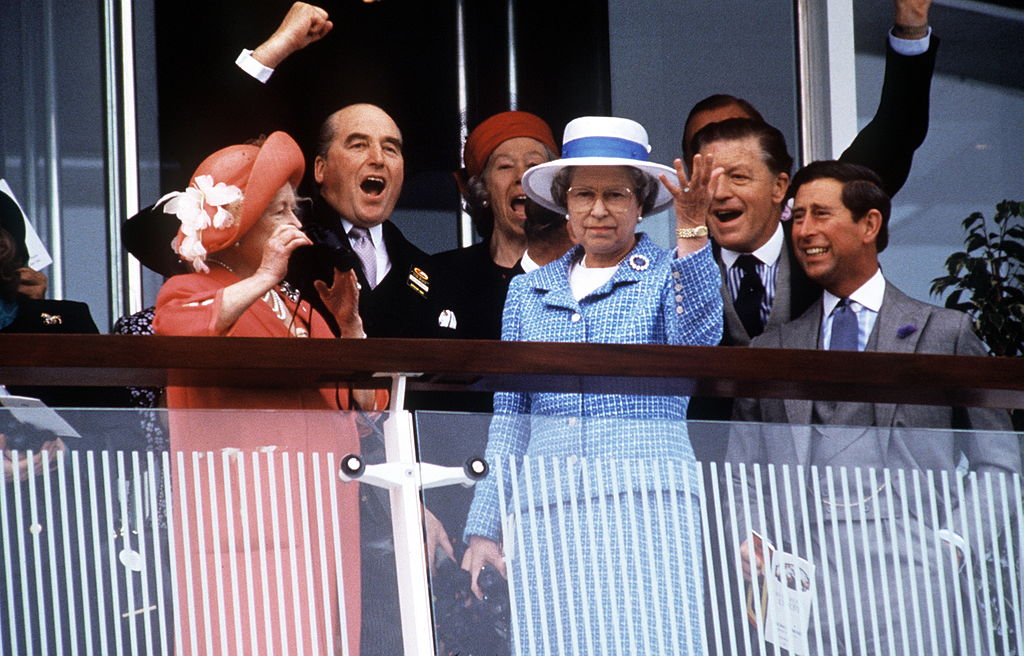 The Queen Mother Prince Charles And The Queen At The Derby