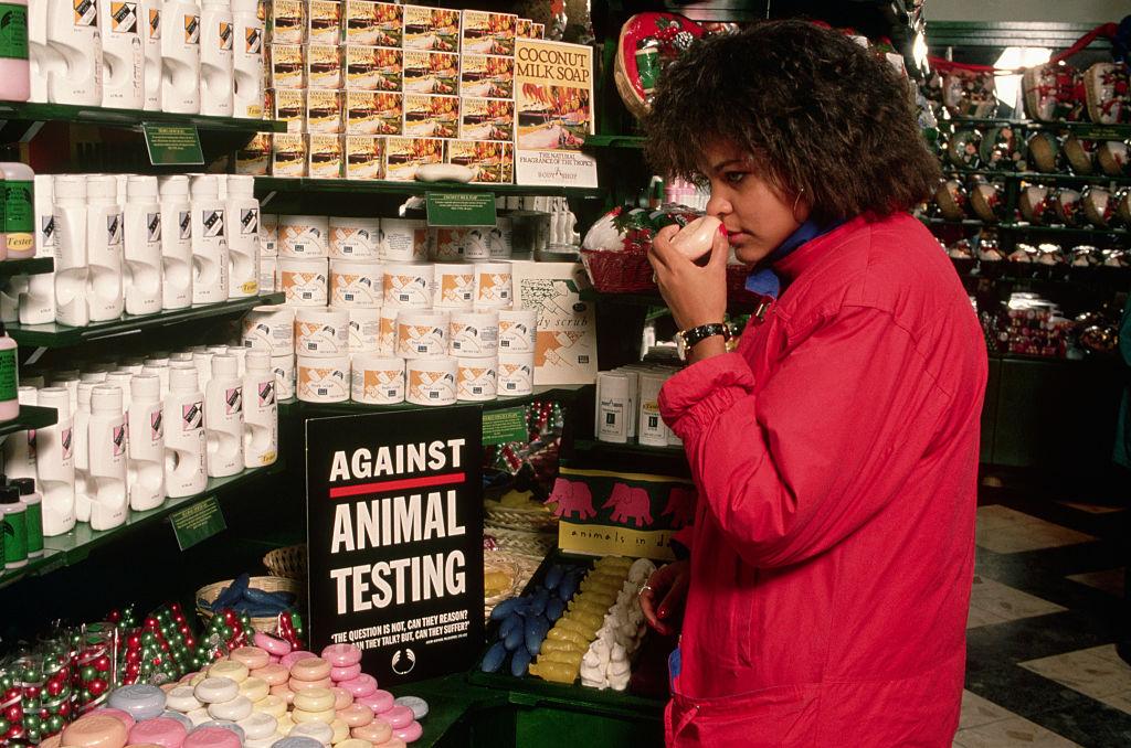 woman looking at soap bar
