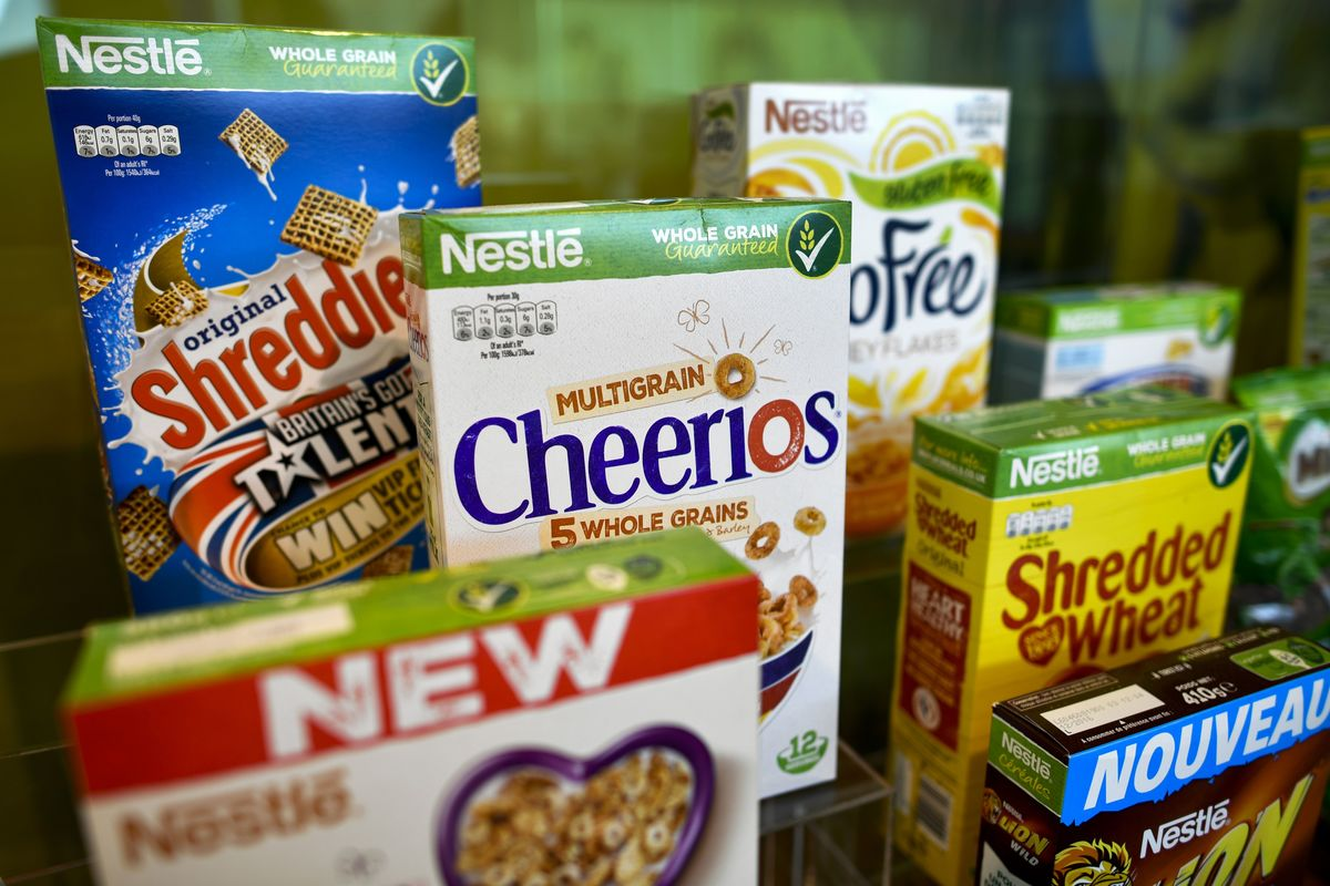 Vevey shows a display of boxes of Nestle breakfast cereals in a showroom of Swiss food giant's Nestle.