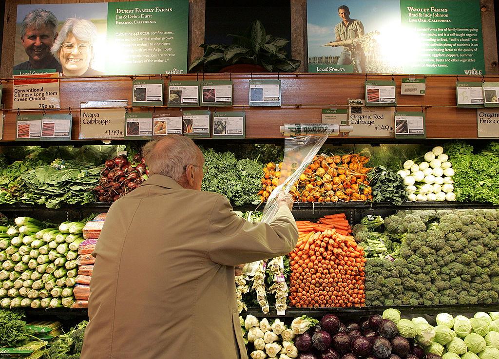 man shopping for veggies
