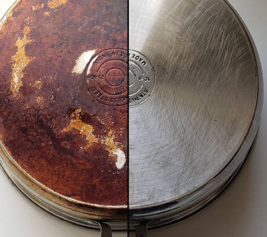 brown pan really stained before and after