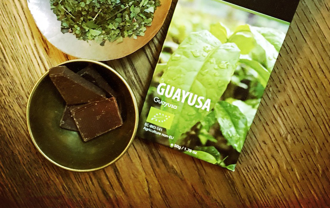 Guayusa tea with a bowl of chocolate