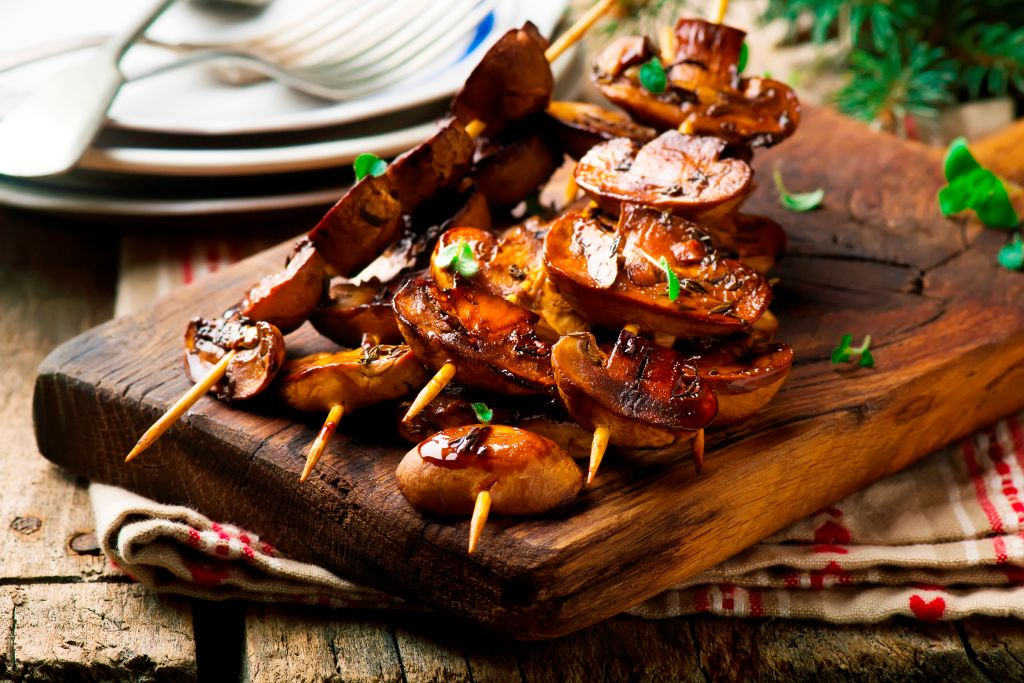 balsamic grilled mushrooms on skewers