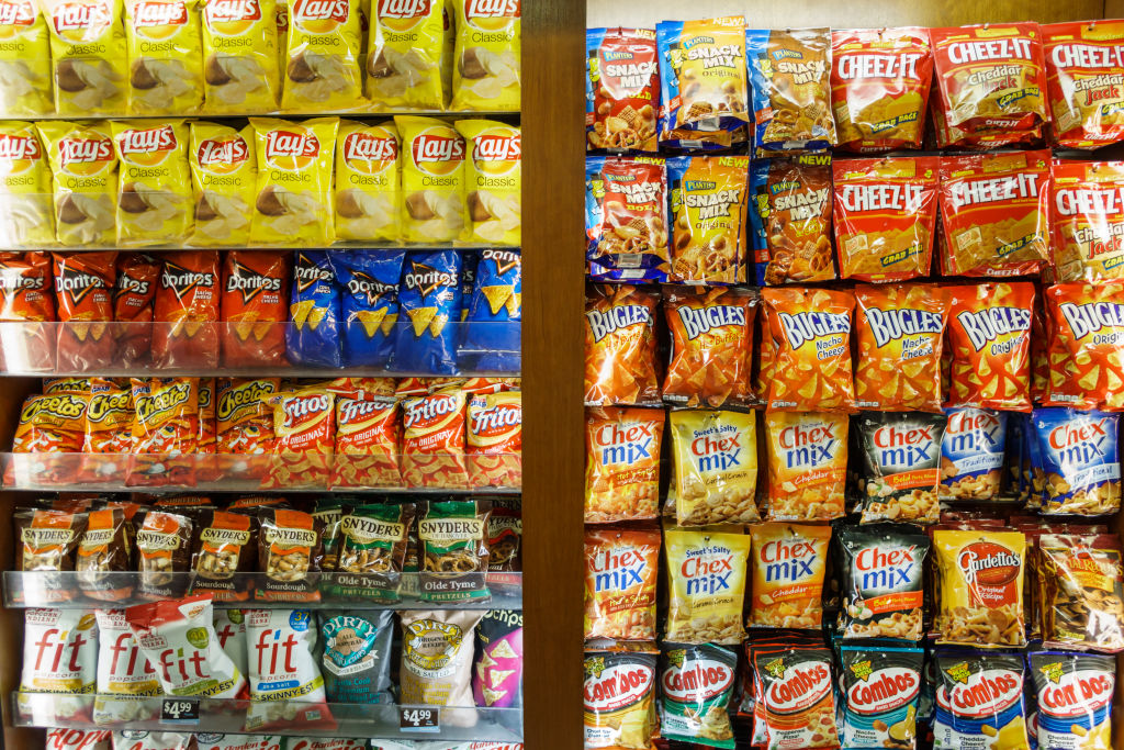 snack-size bags of chips displayed in a store