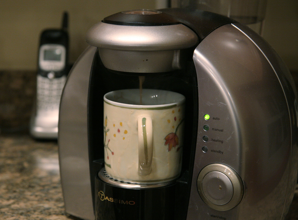 An automatic coffee maker brews coffee-by-the-cup in the condo of Kitty Bernard in Reston, VA.