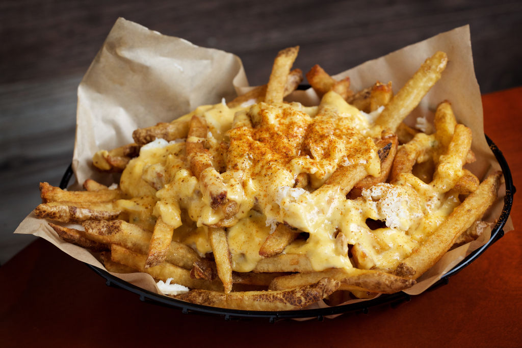 A basket of cheese fries