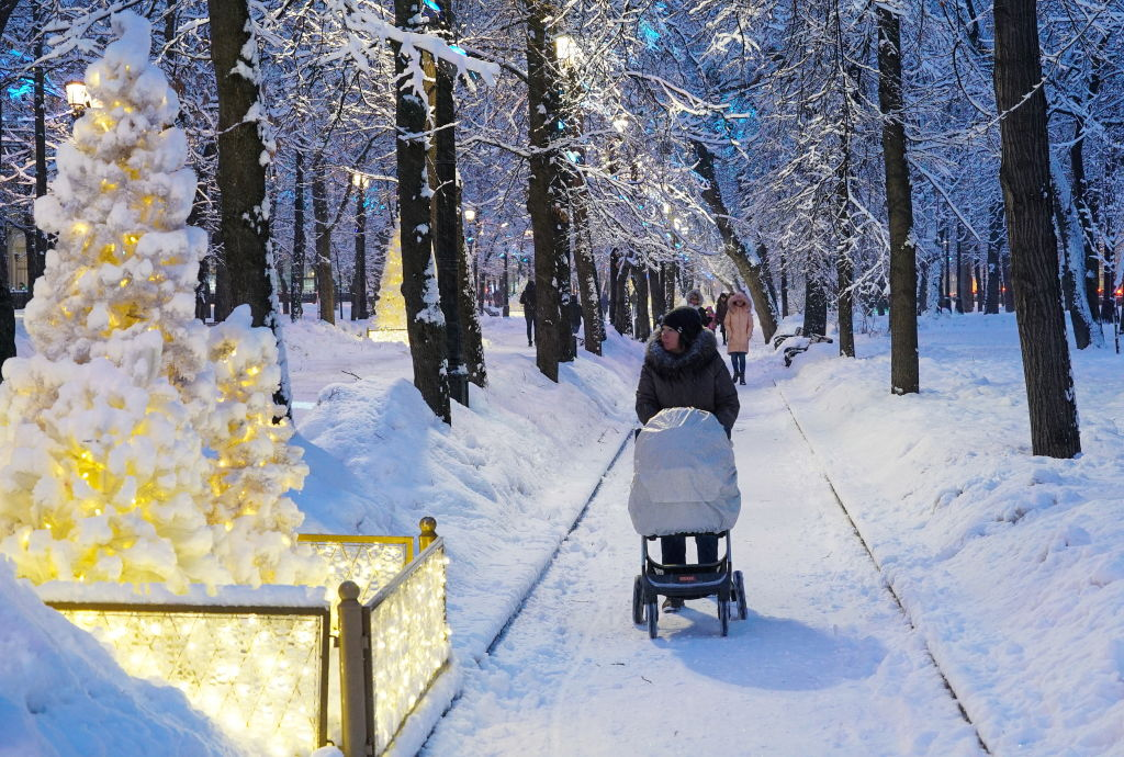 A woman pushes a stroller through a snow path lined with light up trees.
