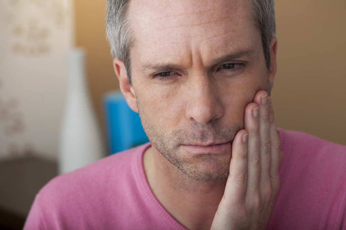 Man suffers from a toothache