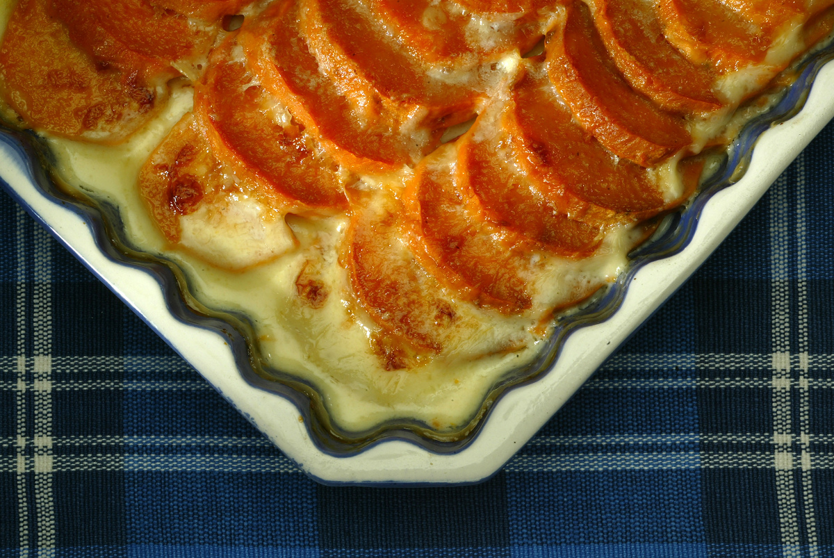 Sweet potato gratin fresh from the oven