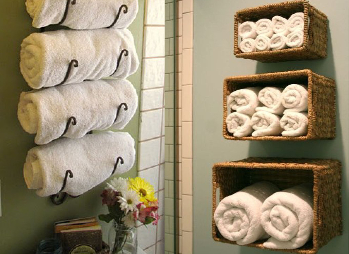 Creative storage for bathroom towels on Pinterest