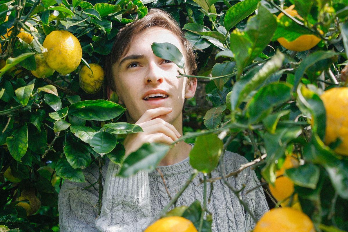 Man standing amidst a lemon tree.