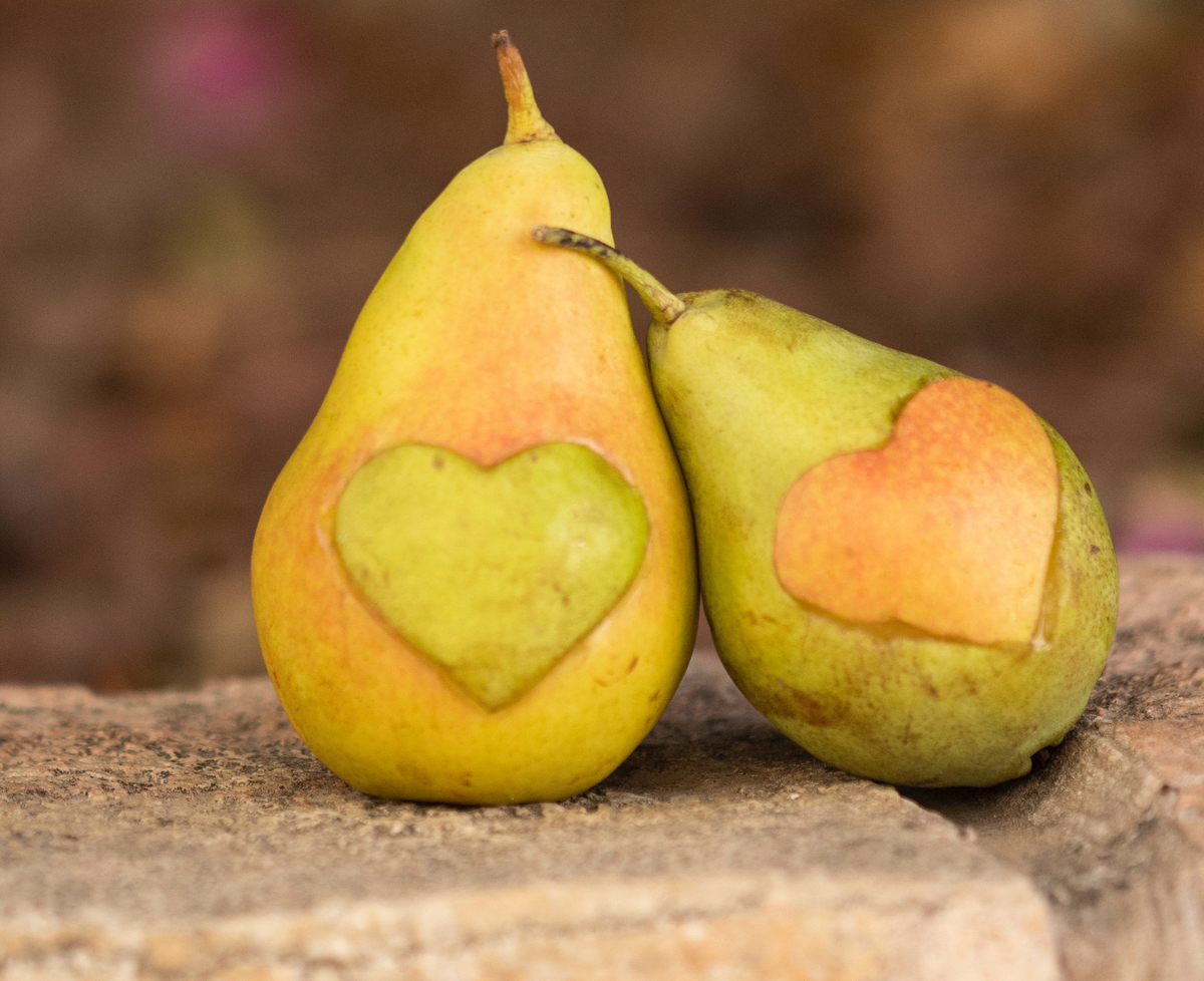 Two pears with cut-out hearts placed on both of them