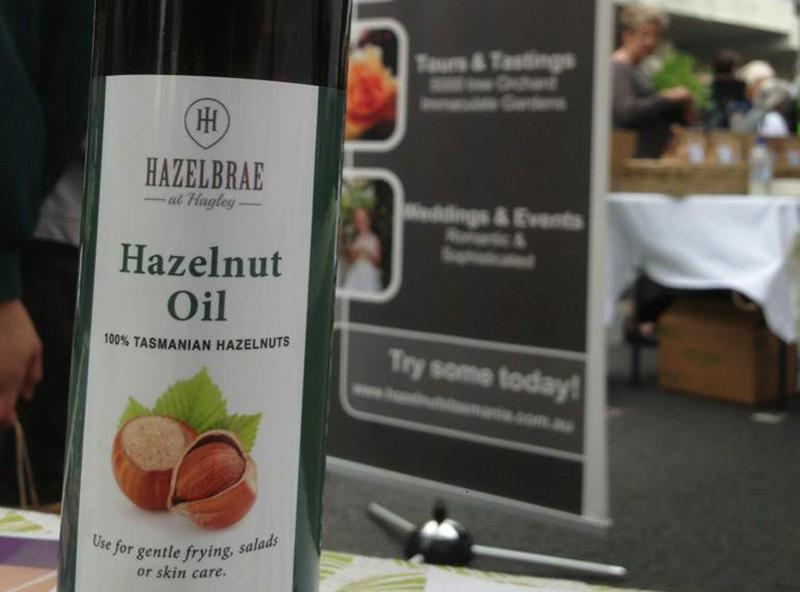 Bottle of hazelnut oil on a restaurant table