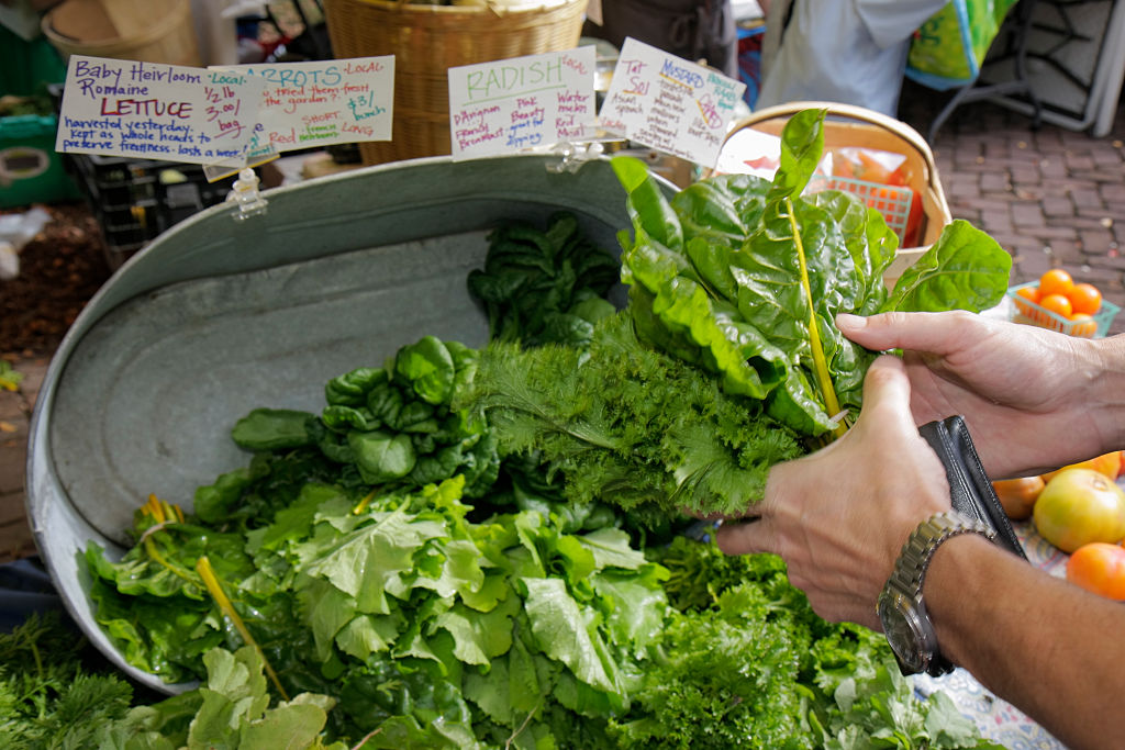 A bunch of leafy greens at the Farmers Market