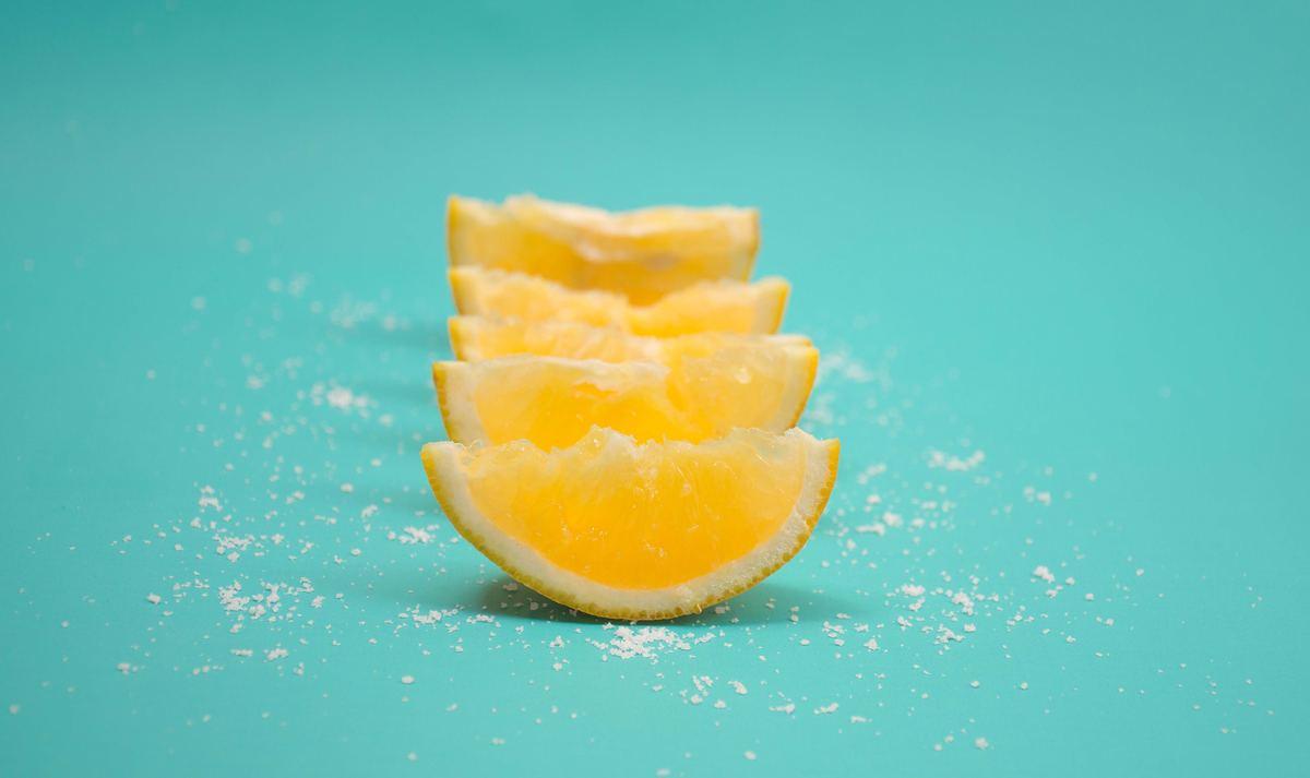 Lemon slices sprinkled with salt