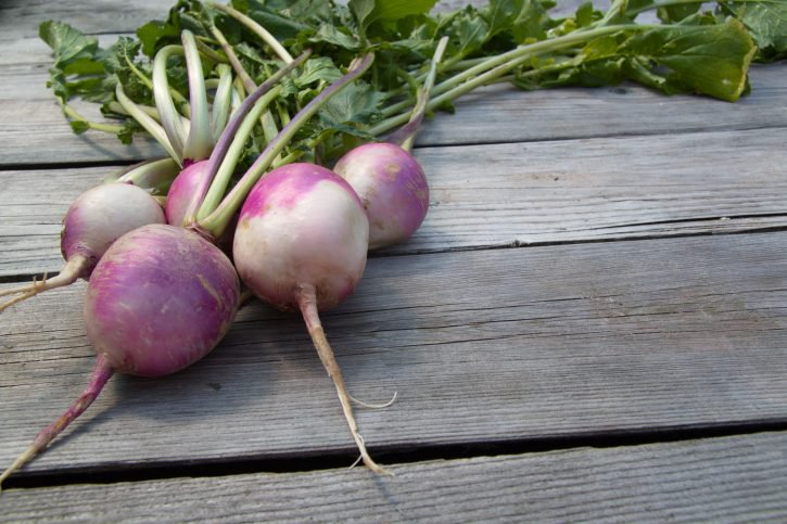 Raw turnips with the stems still on sitting on a table