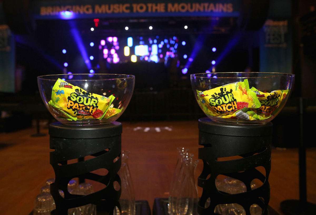 Sour Patch Kids sit in bowls on display at the Billboard Winterfest at Park City Live!