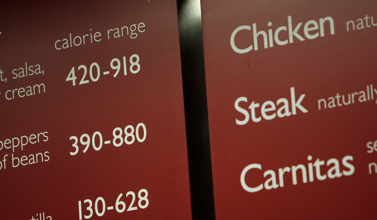 Calories are listed next to menu items at a Chipotle Mexican Grill