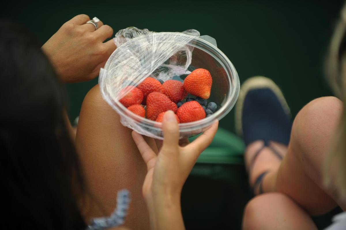 Spectators eat strawberries as they attend play between Spain's Fernando Verdasco and Spain's Albert Montanes
