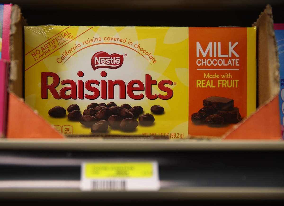 A box of Nestle Raisinets is seen on a store shelf
