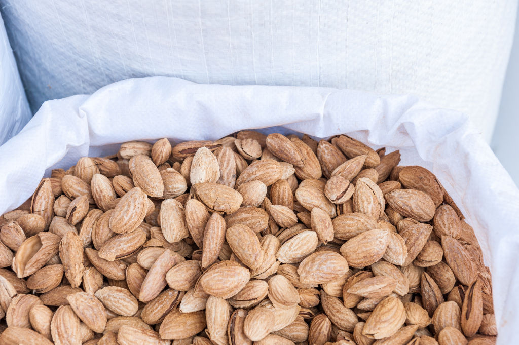 almonds packed in a cloth