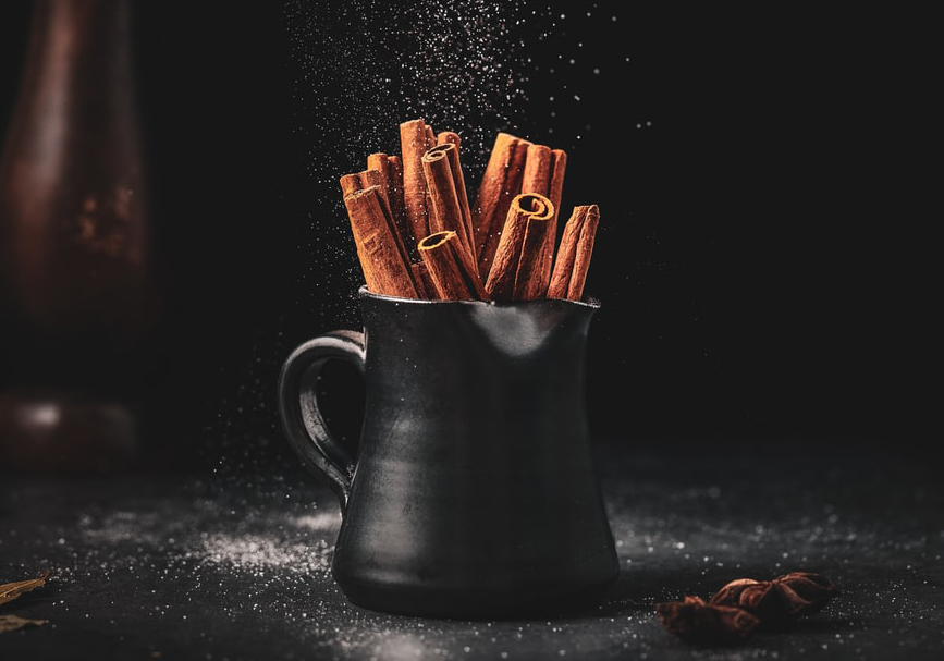 Cup full of cinnamon sticks