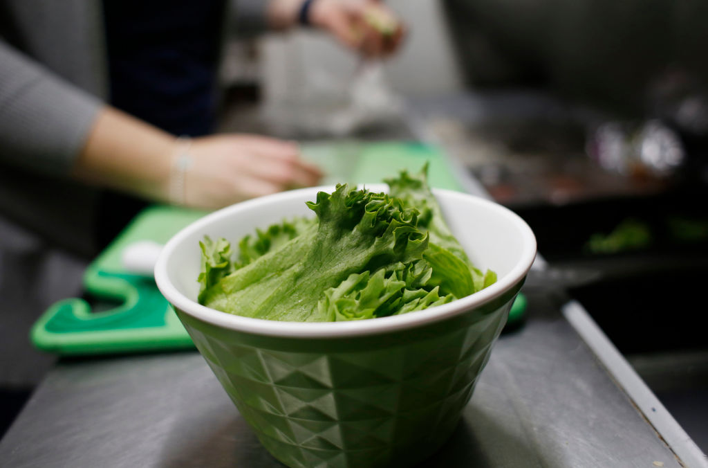a bowl of romaine lettuce
